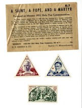 Monaco 1951 Holy Year Commemoratives Stamp Set Saint Pope Martyr 3x H E ... - $19.79