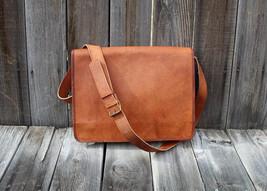 Men Genuine Leather Travel Flap Shoulder Messenger Crossbody Flat Bag Pack - $54.45