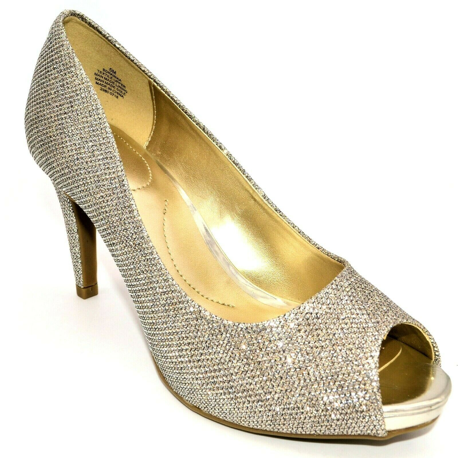Bandolino Womens Rainaa Peep-Toe Pumps Size 5M Gold Glitter Cushioned Insole NEW - $25.02