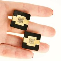 Vintage 18k gold black Cufflinks with diamonds for men BHS - $884.43