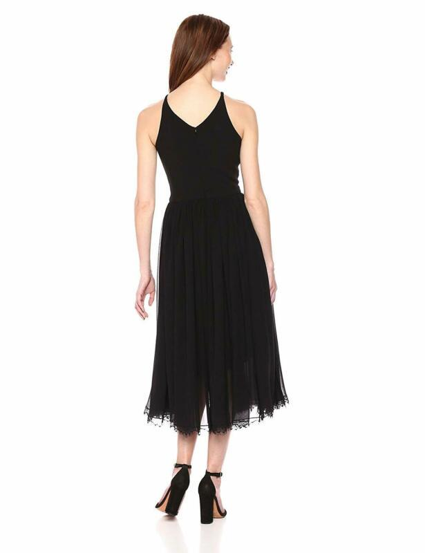 Dress The Population Women'S Alicia Plunging Mix Media Sleeveless Fit And Flare