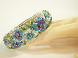JOAN RIVERS Crystal Rhinestone Enamel Blues CUFF BRACELET Impatiens Clam... - $54.44