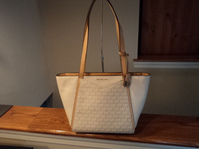 356ce5e42ee2 57. 57. Previous. Authentic Michael Kors Whitney Small Logo Jacquard Tote  Natural Beige NWT · Authentic Michael ...