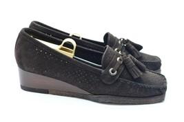 Stuart Weitzman Women's 7 M Loafers Brown Suede Moc Toe Tassels Wedge Sl... - $69.29