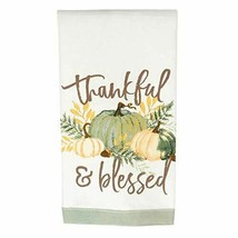 Precious Pumpkins Thankful Sage Green 23 x 13 Linen Fabric Harvest Tea T... - $12.48