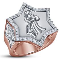 Solid 925 Silver 14k Rose Gold Plated Diamond Men's Aquarius Zodiac Sign... - $146.99