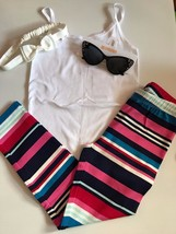 Gymboree Girls' White Thin Strap Tank w/ Multi Color Striped Leggings, Headband - $24.99