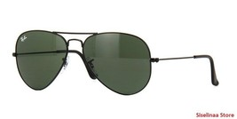 New Genuine Ray Ban 3025 L2823 Black Classic Aviator Sunglasses Green Le... - $71.69