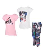 adidas Kids Girls 3-piece Outfit Set Tee Top T-Shirt Capri Leggings Pink White - $30.50