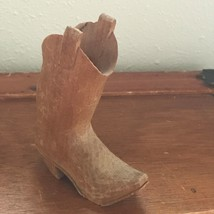 Vintage RUSTIC Hand Carved Wood COWBOY BOOT Figurine – 4 and 3/8th's inc... - $13.99