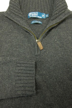 GORGEOUS Ralph Lauren Polo 100% Lambs Wool Gray Quarter Zip Sweater XL - $34.99