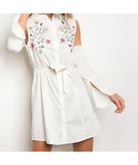 Fashion Womens Long Sleeve Button Front Cotton Tie-Waist Dresses White Size - $23.98