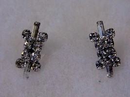 Vintage Screw On Earrings Diamond Tone Gem With Prongs Costume Fashion J... - $14.66