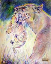 ACEO Lion Art Print  -: rdoward fine art - $5.94