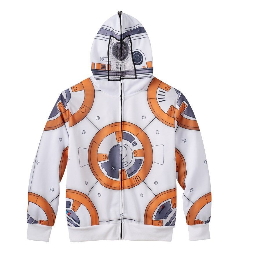 Star Wars Boys 6-7 Graphic Sweatshirt BB-8 Zip up Front Mask Hoodie Long Sleeve