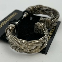 Vintage Braided Woven Metal Silver Tone Metal Hoop Earrings NOS 80s 90s ... - $11.84