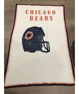 "Handmade Vintage NFL Chicago Bears Knit Blanket - One Of A Kind 64"" X 42"" - $125.00"