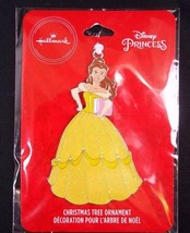 Hallmark Disney Princess BELLE flat metal Christmas ornament on card 2019 NEW - $6.76