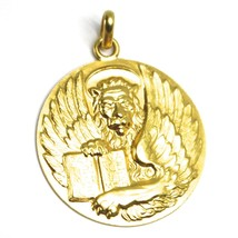 SOLID 18K YELLOW GOLD ROUND BIG MEDAL, SAINT MARK MARCO, DIAMETER 28mm LION BOOK image 1