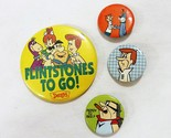 Vintage hanna barbera flintstones to go dennys promo pinback button set of 4