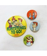 Vintage hanna barbera flintstones to go dennys promo pinback button set ... - $28.62