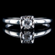 Vintage 1940's 14k White Gold Round Cut Diamond Solitaire Engagement Rin... - $690.00
