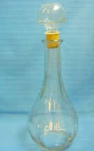 "Plain Pattern Liquor Bottle Decanter Clear Glass  Stopper Empty 11.5"" Tall - $29.95"