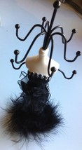 Black Feather Dress Jewelry Display Rack necklace bracelet organizer holder - $10.50