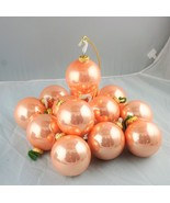 """Lot of 13 - 3"""" West Germany Peachy/Pink Glass Ornament 1990's - $41.64+"""