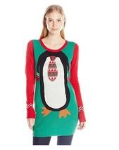 Blizzard Bay Juniors Penguin Tie Tunic Christmas Sweater, Clover Field, M - $26.26 CAD