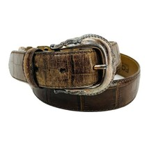 Fossil Western Belt Croc Embossed Brown Leather Women's Size M 28 - 32 - $15.17