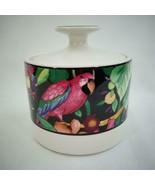 Vintage 1993 Vitromaster Rain Forest Sue Zipkin Ceramic Sugar Bowl and Lid - $38.69
