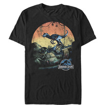 Jurassic World Retro Raptor Sunset Mens Graphic T Shirt - $10.99