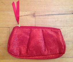 Red Metallic Sparkle Make Up Cosmetic Bag Pouch Clutch 8 X 4.5   NWOT - $9.89