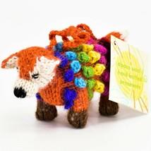 Handknit Alpaca Wool Whimsical Hanging Red Fox Ornament Handmade in Peru image 2