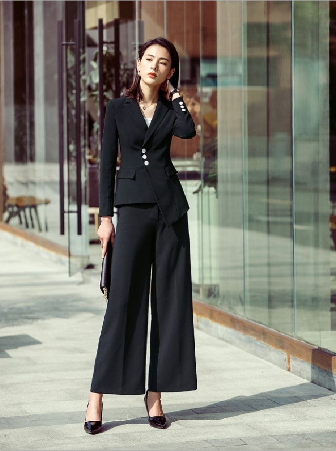ITCQUALITY 2 PIECES SET WOMEN WORK WEAR OFFICE PANT SUIT WITH POCKET ITC1375.