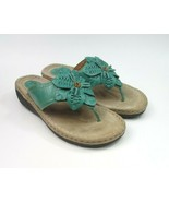 Clarks Artisan Women's Thong Sandals  Leather Flower Flip Flop Green Siz... - $27.61