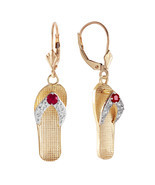 0.3 Carat 14K Solid Gold Shoes Leverback Earrings Natural Ruby - $312.56