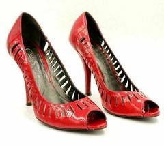 Jessica Simpson Peep Toe Pump Heels Size US 8.5B Red Patent Leather - $20.20
