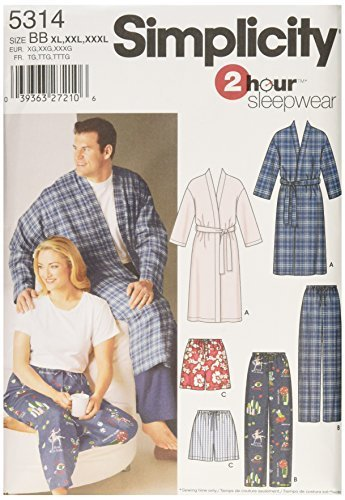 Simplicity 2 Hour Sleepwear Pattern 5314 Women's and Men's Pants or Shorts and R