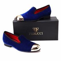 Handmade FERUCCI Men Plain Blue Velvet with Gold Toe Slippers loafers davuci - $159.99