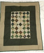 CAMO TAN GREEN QUILT new handcrafted 36 x 43 throw toddler wheelchair lap - $40.00