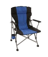 Ultra Padded cushions Quad Bag Chair cup holder Oversized feet Blue - $39.88