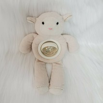 "10"" Pottery Barn Kids Lamb Cream Baby Lovey Spinning Belly Rattle Plush Toy B81 - $14.97"
