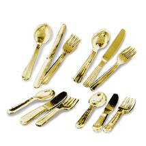 DOLLHOUSE Flatware -Gold- 4 Settings 1.707/5 Reutter Metal Miniature - $17.81