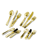 DOLLHOUSE Flatware -Gold- 4 Settings 1.918/0 Reutter Metal Miniature - $18.15
