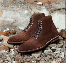 Handmade Men's Dark Brown Two Tone High Ankle Lace Up Suede Boot image 4