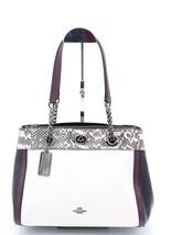 NWT Coach Turnlock Edie Snakeskin Colorblock Leather Carryall Shoulder B... - $275.00