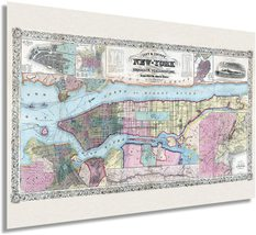 1857 New York City and Vicinity Map Art - NYC Vintage Map Wall Art - Map of New  - $34.99+