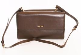 DKNY Donna Karan Dark Brown Leather Double Flap Shoulder Bag Clutch - $220.95